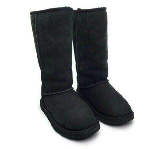 UGG Australia Black Leather Sheep Skin Boots